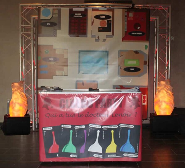 Cluedo humain : le stand d'accueil