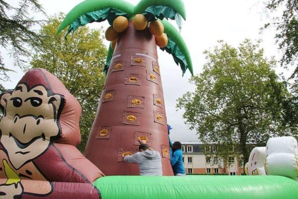 mur d'escalade cocotier gonflable géant : adultes