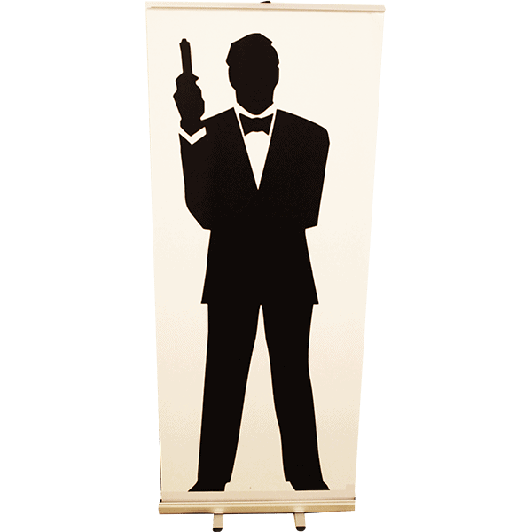 Roll up James Bond Silhouette 85x200