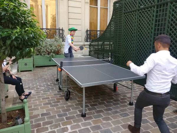 Table de ping pong : la table en jeu