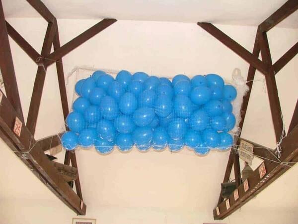Tomber de ballons : en bleu