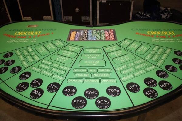 casino chocolat : la table en gros plan