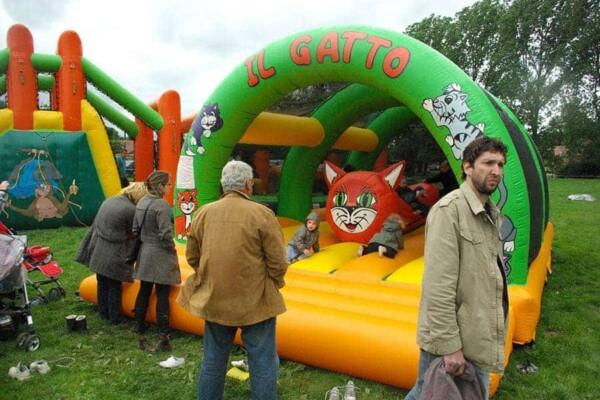 château gonflable Chat : dans une fête